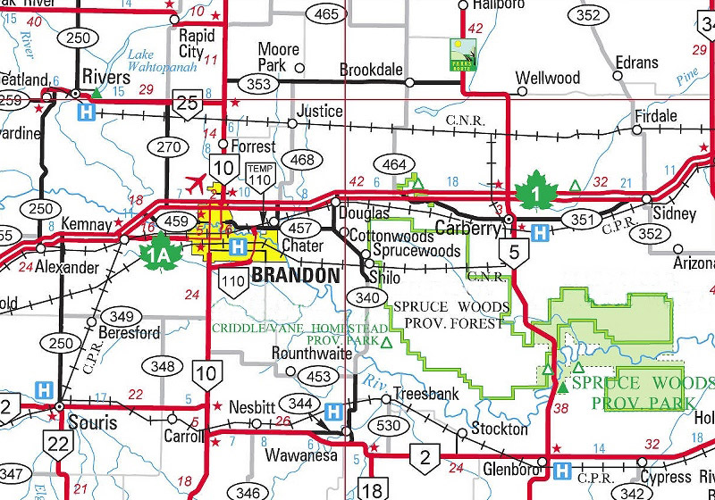 Map Of Brandon Mb Shilo Area Maps